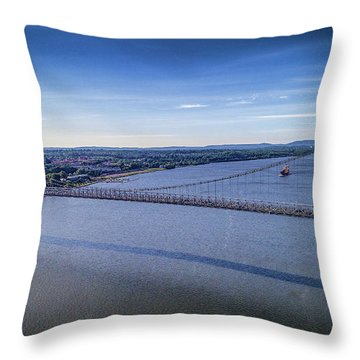 Mid-hudson Bridge In Spring Throw Pillow