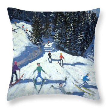 Mid-morning On The Piste Throw Pillow by Andrew Macara