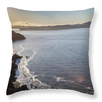 Mid Morning View Of The Downtown San Franscisco Over The Golden  Throw Pillow