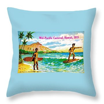 Mid Pacific Carnival Hawaii Surfing 1915 Throw Pillow