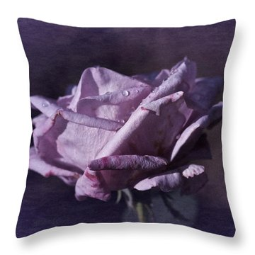 Throw Pillow featuring the photograph Mid September Purple Rose by Richard Cummings