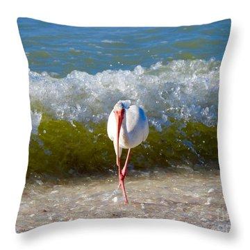 Mid Wave Feeding Throw Pillow