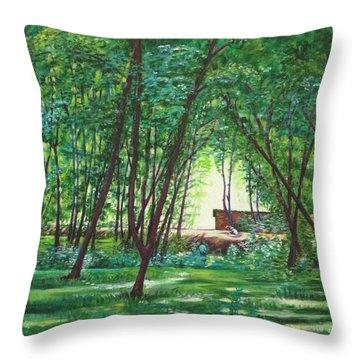 Midday Slumber -indian Landscapes Throw Pillow by Usha Shantharam
