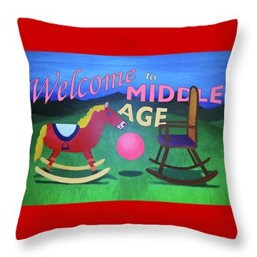Middle Age Birthday Card Throw Pillow