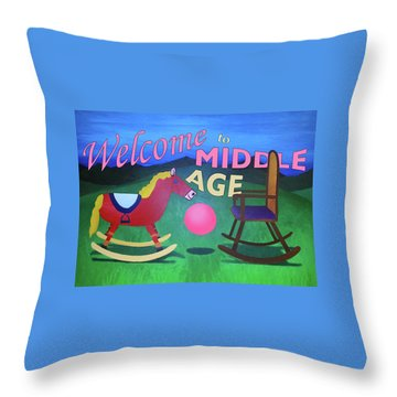 Middle Age Birthday Card Throw Pillow by Thomas Blood