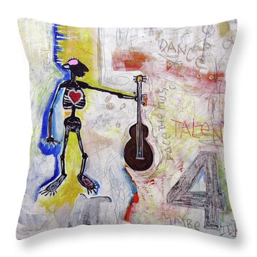 Throw Pillow featuring the painting Middle-aged Musician by Rick Baldwin