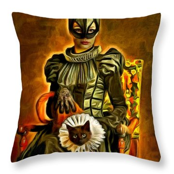 Middle Ages Catwoman - Da Throw Pillow