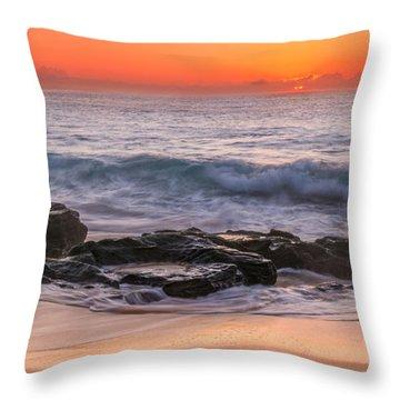 Middle Beach Sunrise Throw Pillow