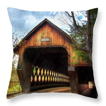 Throw Pillow featuring the photograph Middle Covered Bridge - Woodstock Vermont by Joann Vitali