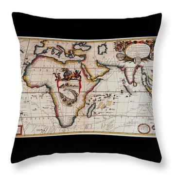 Middle Earth Map - Vintage Throw Pillow by Pg Reproductions