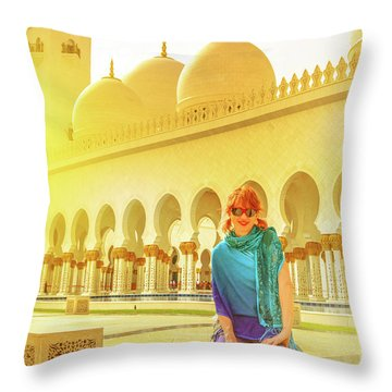 Middle East Tourism Concept Throw Pillow