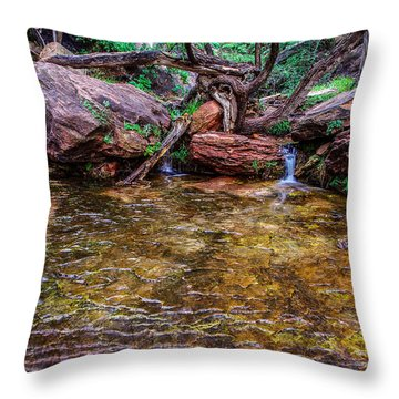Middle Emerald Pools Zion National Park Throw Pillow