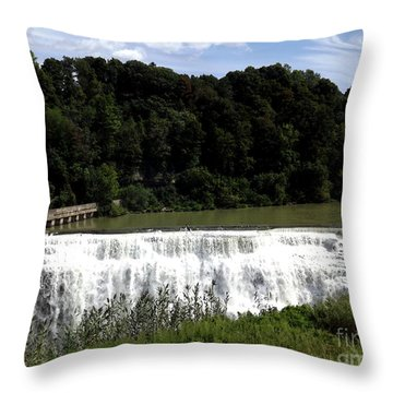 Throw Pillow featuring the photograph Middle Falls In Rochester New York by Rose Santuci-Sofranko