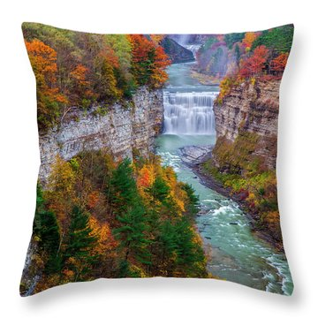 Middle Falls Of Letchworth State Park Throw Pillow by Mark Papke