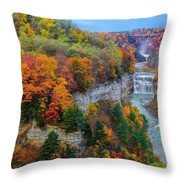 Middle Falls Peak Throw Pillow