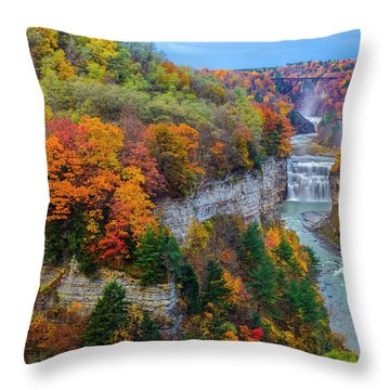 Middle Falls Peak Throw Pillow by Mark Papke