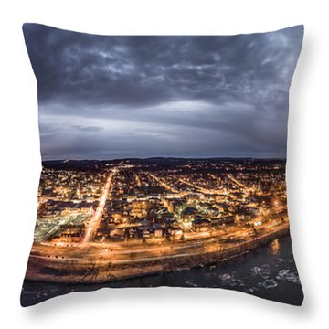 Throw Pillow featuring the photograph Middletown Connecticut, Twilight Panorama by Petr Hejl