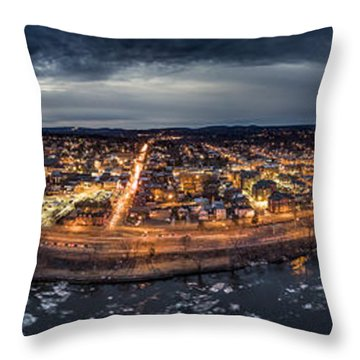 Throw Pillow featuring the photograph Middletown Ct, Twilight Panorama by Petr Hejl
