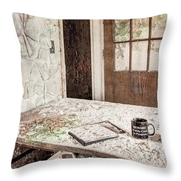 Throw Pillow featuring the photograph Midlife Crisis In Progress - Abandoned Asylum by Gary Heller