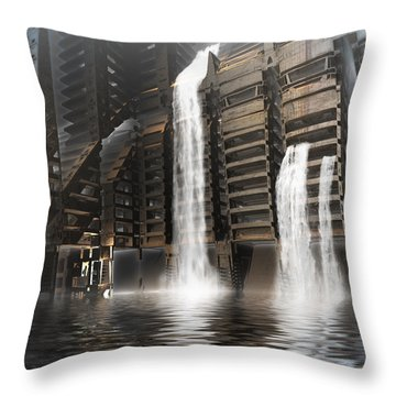 Midnight At The Dam Throw Pillow