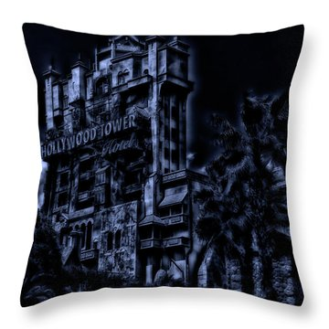 Midnight At The Tower Of Terror Mp Throw Pillow by Thomas Woolworth