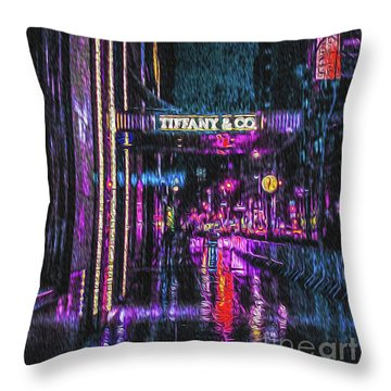 Midnight At Tiffany Painting Throw Pillow