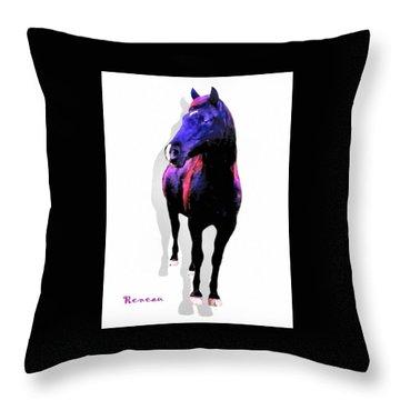 Midnight Black Stallion Throw Pillow by Sadie Reneau
