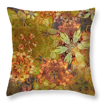Midnight Blossom Bouquet Throw Pillow