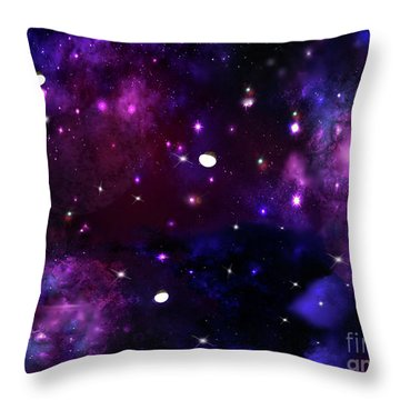 Midnight Blue Purple Galaxy Throw Pillow