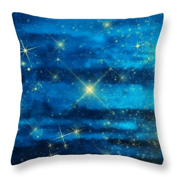 Midnight Blue Sky With Stars Throw Pillow