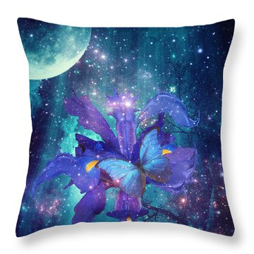 Midnight Butterfly Throw Pillow by Mo T