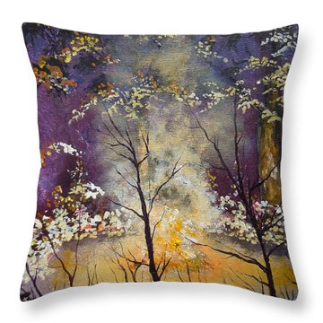Throw Pillow featuring the painting Midnight Campsite by Dan Whittemore