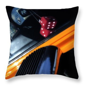 Midnight Dice In A Hot Rod Throw Pillow