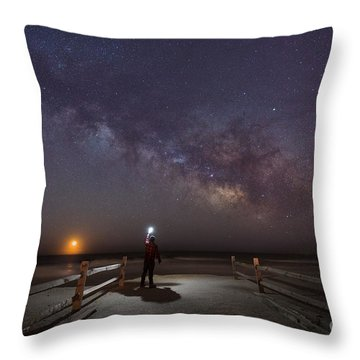 Midnight Explorer Moonrise Milky Way At The Jersey Shore Throw Pillow