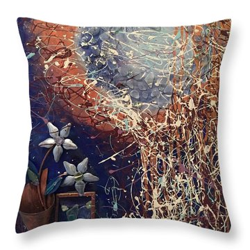 Midnight Flowers Throw Pillow by Gallery Messina