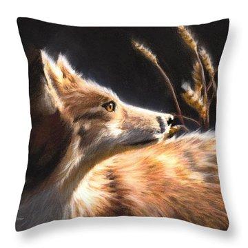 Midnight Fox Throw Pillow