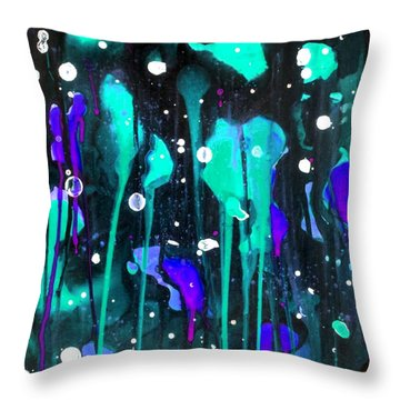 Midnight Garden Blue Throw Pillow
