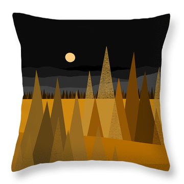 Midnight Gold Throw Pillow by Val Arie