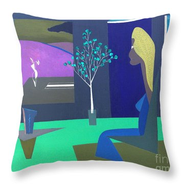Throw Pillow featuring the painting Midnight In Moonlight by Bill OConnor