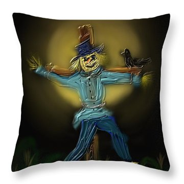 Throw Pillow featuring the painting Midnight In The Cornfield by Kevin Caudill