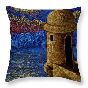 Throw Pillow featuring the painting Midnight Mirage In San Juan by Oscar Ortiz