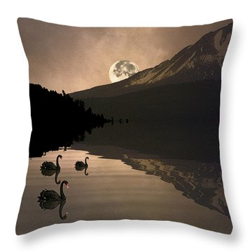 Midnight Moods Swan Lake In The Moonlight Throw Pillow by Diane Schuster