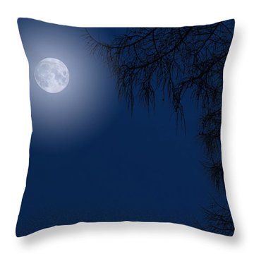 Midnight Moon And Night Tree Silhouette Throw Pillow