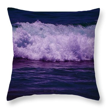 Midnight Ocean Wave In Ultra Violet Throw Pillow