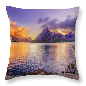 Midnight Orange Throw Pillow