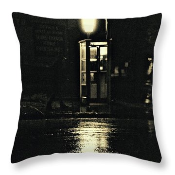 Midnight Phone Booth Throw Pillow