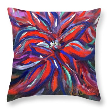 Midnight Poinsettia Throw Pillow