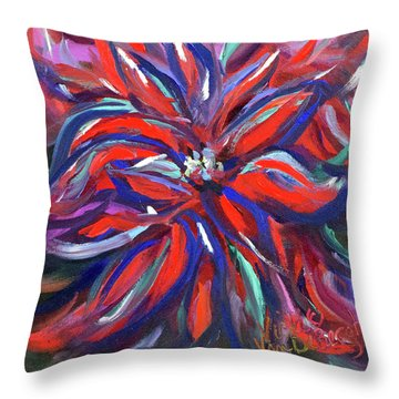 Midnight Poinsettia Throw Pillow