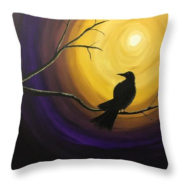 Midnight Raven Throw Pillow