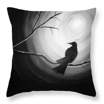Midnight Raven Noir Throw Pillow